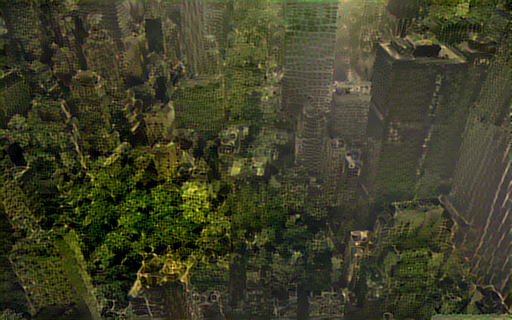 Output of New York City and a rainforest