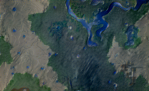 Output of minecraft map plus river satellite imagery