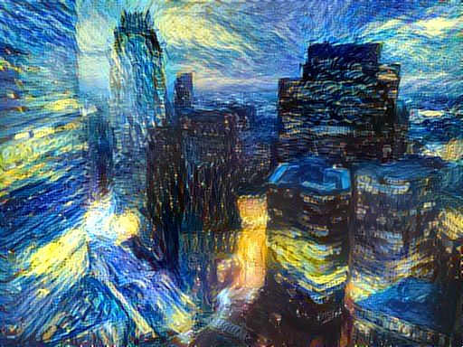 Output of Boston skyline and starry night