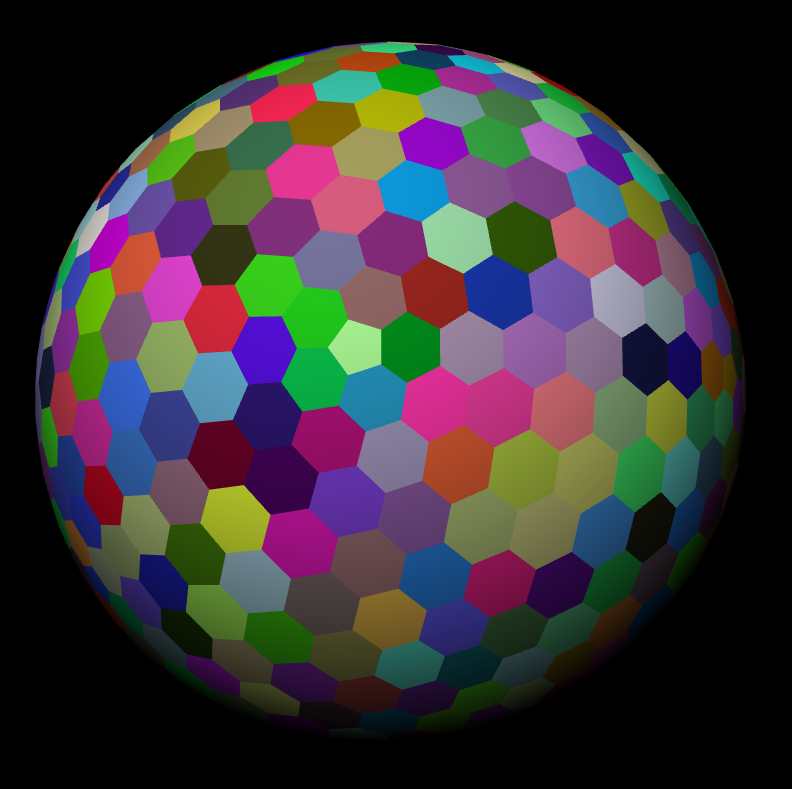 colored hexsphere of detail level 3